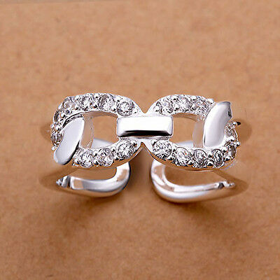 925 Silver Plated & CZ Link Ring  / Thumb Ring - Adjustable - Ladies gifts