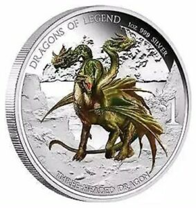 2013-Tuvalu-034-Dragons-of-Legend-034-Colorized-1oz-999-Silver-Proof-Coin-Box-amp-COA