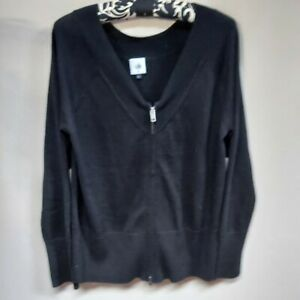 Cabi-Women-039-s-Cotton-V-Neck-Zip-Up-Cardigan-Ribbed-Cuff-Sweater-Black-Size-Medium