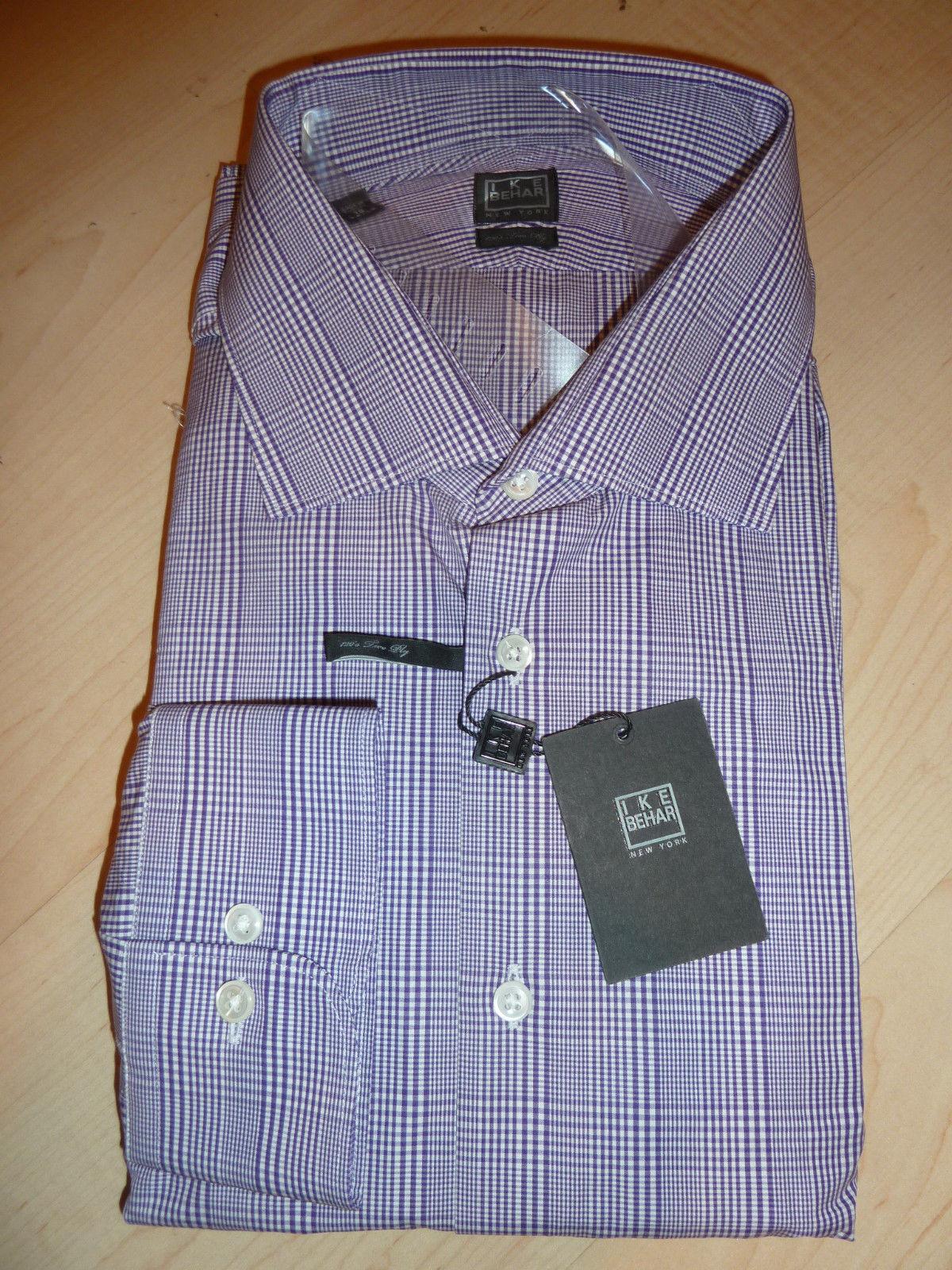 NEW  190 IKE BEHAR herren hemd Sz 15.5 34 35 120s Two Ply 100% baumwolle lila BC