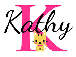 Personalized Cat Name Monogram Girls Room Vinyl Wall Decal Graphics Bedroom Home Decor