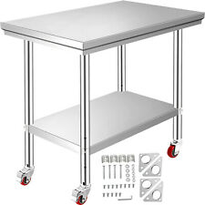 Stainless Steel Kitchen Prep Amp Work Table 4 Casters Wheels 36 In X 24 In