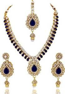 Indische-Bollywood-Mode-Hochzeit-Gold-ueberzogene-Halskette-Set-Brautschmuck-2035
