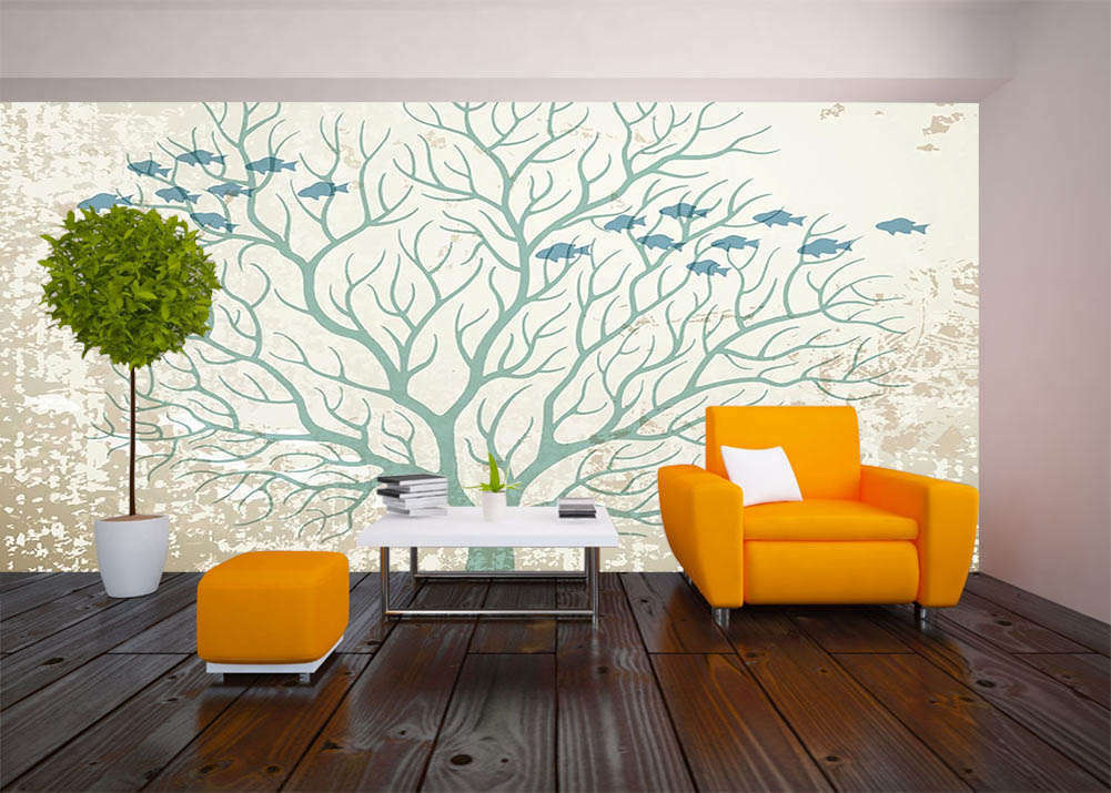 Fish In Art Tree 3D Full Wall Mural Photo Wallpaper Printing Home Kids Decor