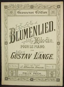 """""""blumenlied"""" Melodie Pour Le Piano Par Gustav Lange-afficher Le Titre D'origine"""