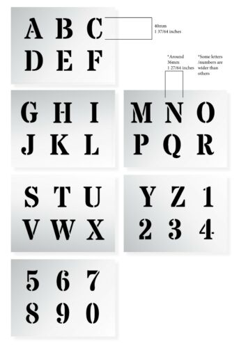 "ALPHABET STENCIL LETTERS /& NUMBERS 40mm tall 1.57/"" 6 x Sheets ROMAN CAPITALS"