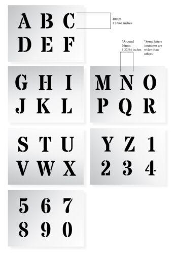 "ALPHABET STENCIL LETTERS /& NUMBERS 40mm tall 1.57/"" 6 x Sheets ROMAN CAPITALS"