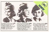 Rubber Stamp Smiles Vintage Ladies Hats Advertise Catalog 4x2.75 1950's