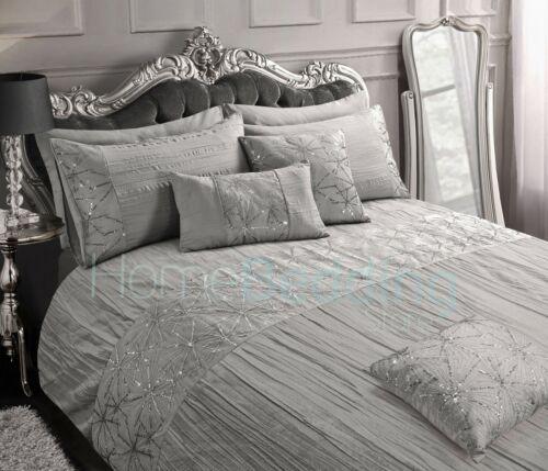Luxury Crinkle Ruffle Sequin Net Sparkle Duvet Cover and Pillowcase Bedding Set