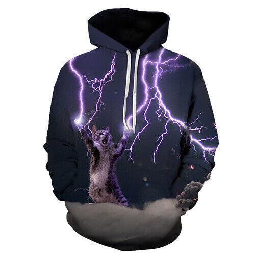 Lightning Cat Streetwear Casual Women Men 3D Print Hoodies Pullovear Sweatshirts