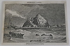 1832-magazine-engraving-Distant-view-of-DUNBARTON-CASTLE-Scotland