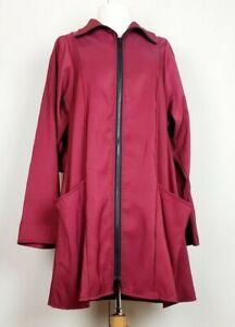 Maralyce-Ferree-S-Jacket-Burgundy-Red-A-Line-Zip-Nylon-Rain-Misses