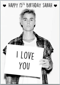 Image Is Loading Justin Bieber I Love You Birthday Card A5