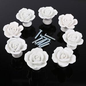 8pcs Vintage Ceramic Rose Flower Door Knob Drawer Cupboard Pull ...