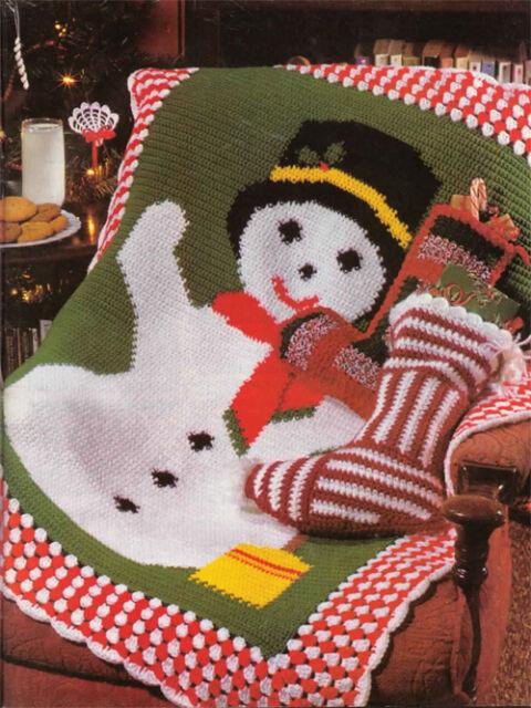 Lovely Snowman Design Crochet Blanket- Crochet Pattern Only