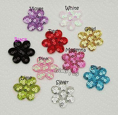 U PICK - 30 mm Sequin Flower Appliques Sew On Trims 10 Colours x 20 pcs #2563