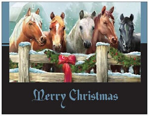 20-CHRISTMAS-Wreath-HORSES-Stable-Greeting-Flat-CARDS-DO-NOT-FOLD-Env-Seals