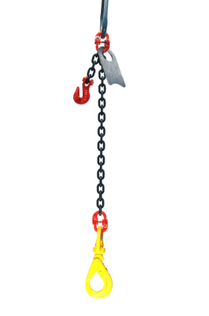 "3//8/"" 10 Foot Grade 80 SOPL Single Leg Lifting Chain Sling Positive Locking Hook"