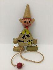 Vintage Wood Toy BOY w/BIG EARS Pull String Dancing Puppet Gregor 1963 Austria