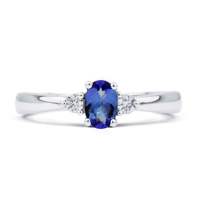 NEW 18 Carat White Gold Tanzanite & Diamond Engagement Ring - All Sizes