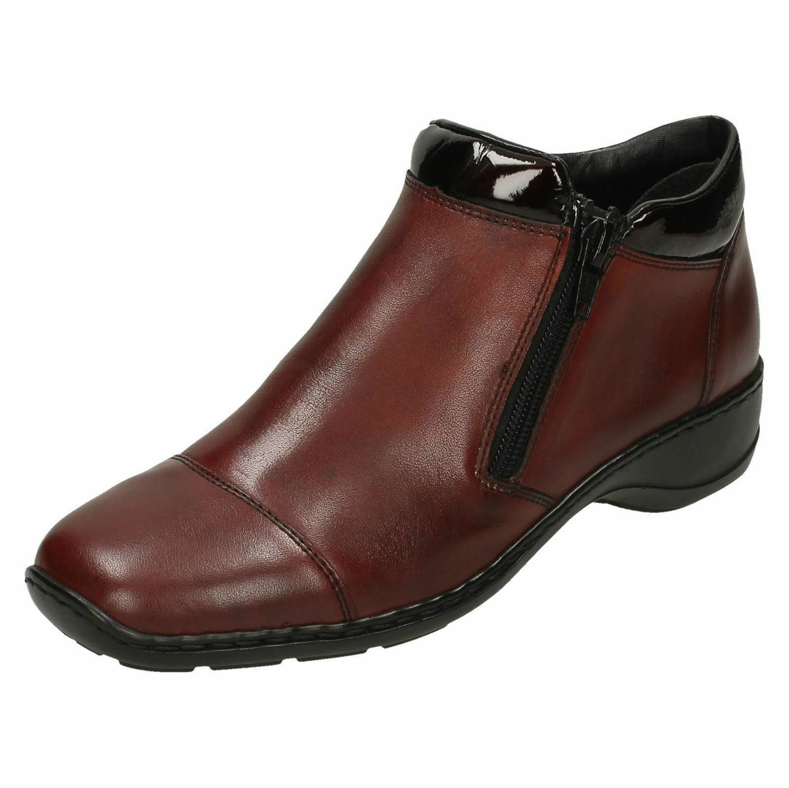 Ladies Rieker 58374 Leather Double Zip Casual Ankle Boots
