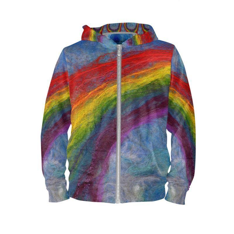 Rainbow Unisex Hoodie XXS - 4XL Zip Up Handmade Summer Clubwear Festival Pride