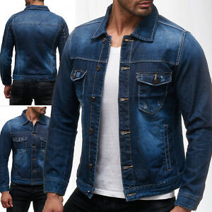 herren jeansjacke frayed jeanshemd stone washed used bergangsjacke denim neu ebay. Black Bedroom Furniture Sets. Home Design Ideas