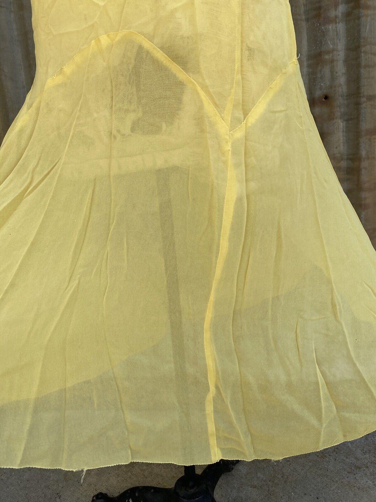 Antique 1920s 1930s Yellow Silk Chiffon Midi Dres… - image 6
