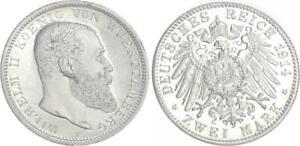 2 Mark Württemberg 1914 F Materialprobe in Zink 63983