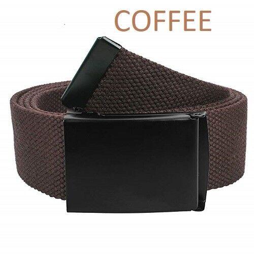 "Canvas Fully Adjustable Belt with Black Flip Top Buckle      /"" Unisex /& Cotton /"""