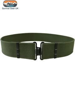 British Army MOD Style Cadet Olive Green Belt with MOD Style Buckles 60mm Wide