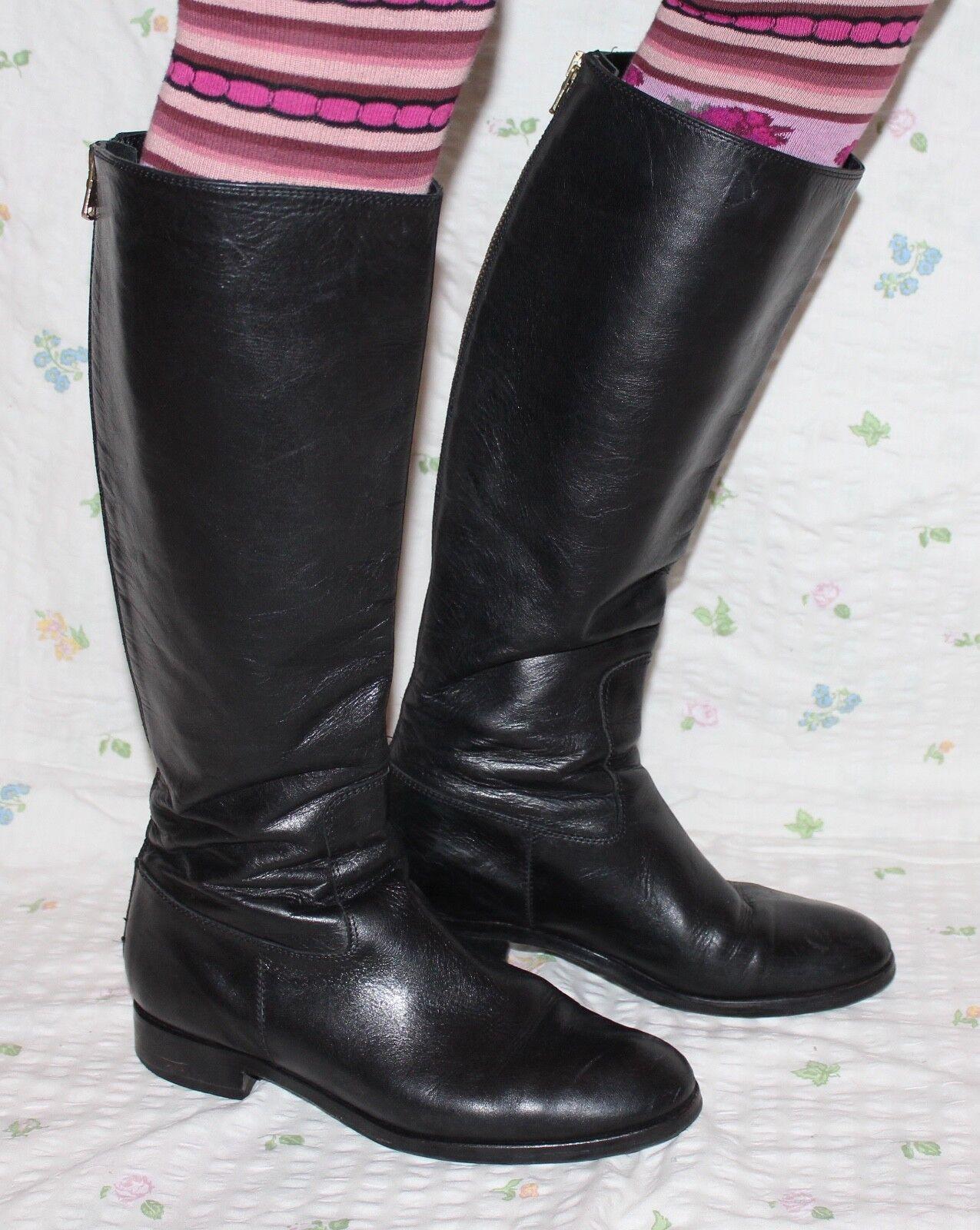 80er Vintage Leder Stiefel 39 80s true VTG Leder BOOTS UK6 schwarz Echtleder