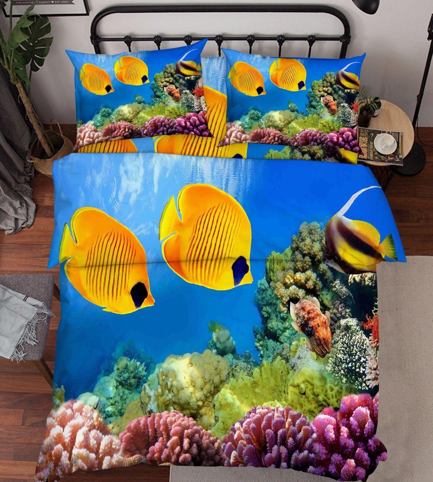 3D Ocean Fishes Bed Pillowcases Quilt Duvet Cover Set Single Queen King Size AU