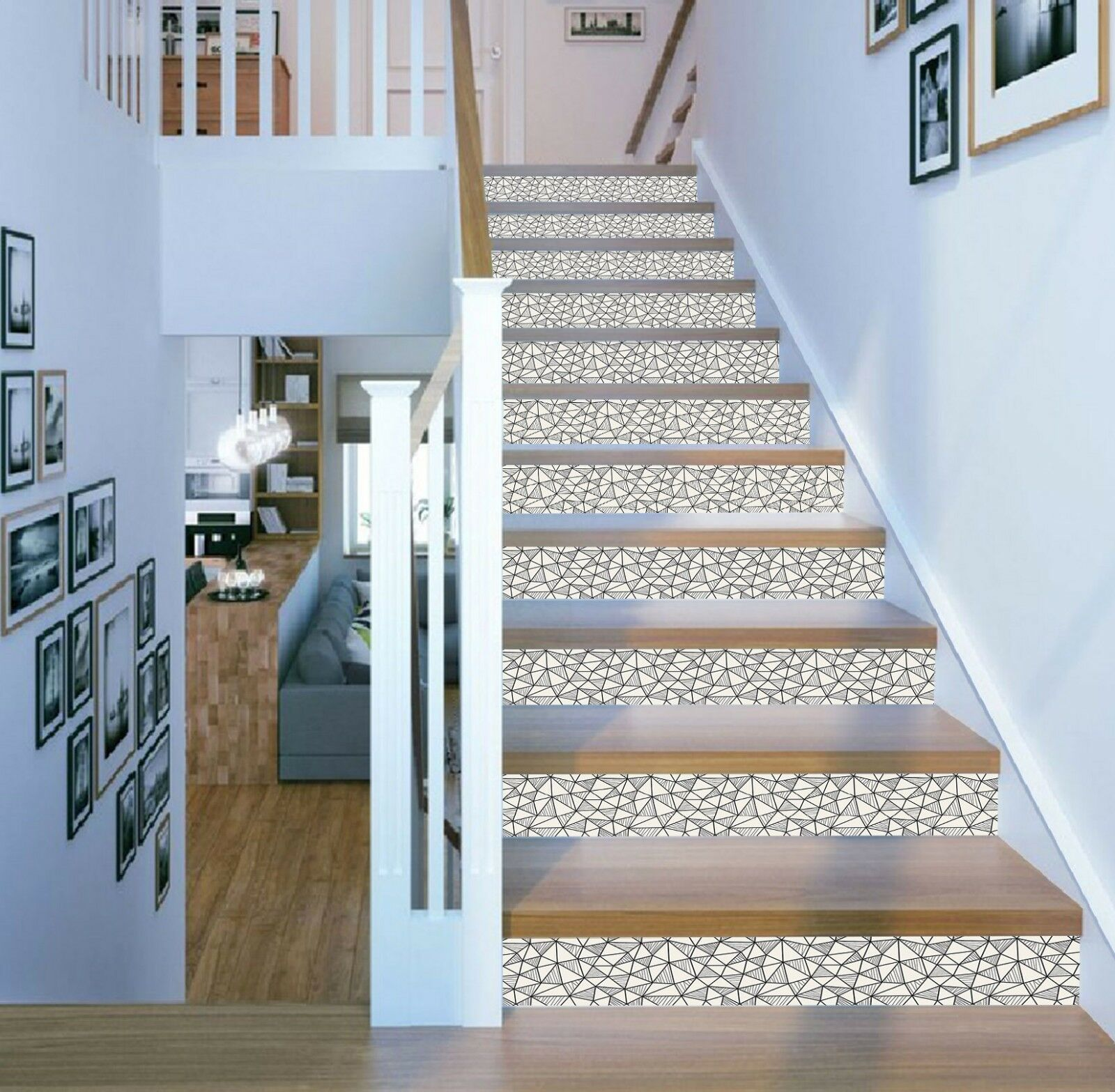 3D Triangle Line Art 1 Tile Marble Stair Risers Decoration Vinyl Wallpaper Mural