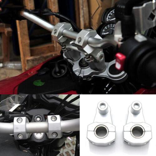 "Silver Aluminum Motorcycle 7//8/"" 22mm HandleBar Handle Fat Bar Mount Clamps Riser"