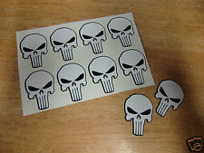 10x The Punisher skull decals - 35mm (1.5in) stickers - BLACK + WHITE
