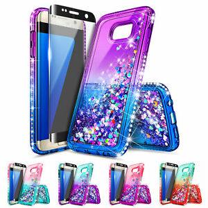 Samsung-Galaxy-S7-S7-Edge-Case-Liquid-Glitter-Bling-Cover-Screen-Protector