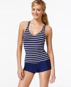 0e688732768db NWT JAG Striped Cross-Back Halter Tankini Boyshorts Swimsuit Set X ...