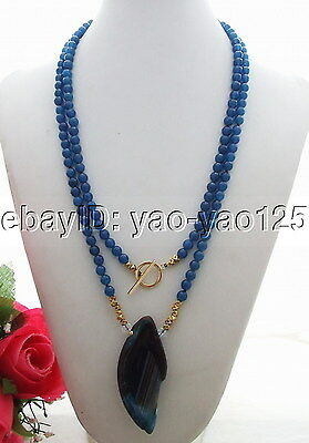 """Q081302 Charming! 44"""" Agate&Jade&Crystal Necklace"""
