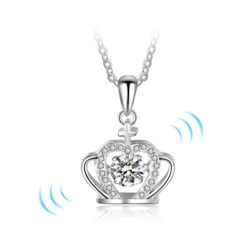 "925 Sterling Silver 0.64 Carat CZ /""Dancing Stone/"" Crown Pendant /& Necklace"