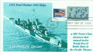Uss-Phelps-DD-360-Pearl-Harbor-1941-Nave-Foto-Cacheted-Primo-Day-Of-Problema-Pm