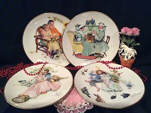 """NORMAN ROCKWELL """"FOUR SEASONS"""" 1973 LIMITED EDITION 4 DECORATIVE PLATES"""