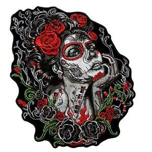 image is loading sugar skull roses 10 inch iron on mc