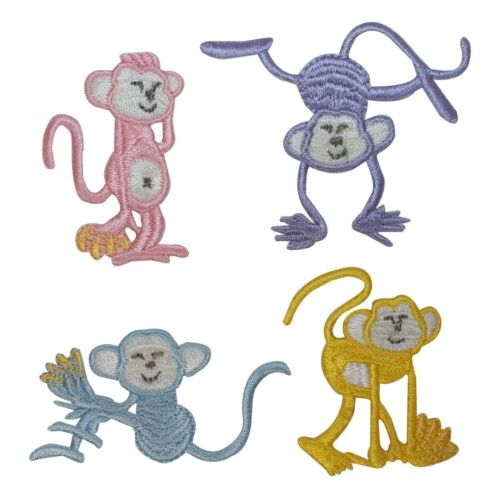 ID 1644ABCD Set of 4 Assorted Happy Monkey Patches Embroidered Iron On Applique