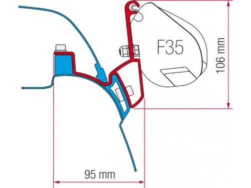 Montage Adapter Fiamma Markise F35 Pro VW T5 und T6 California