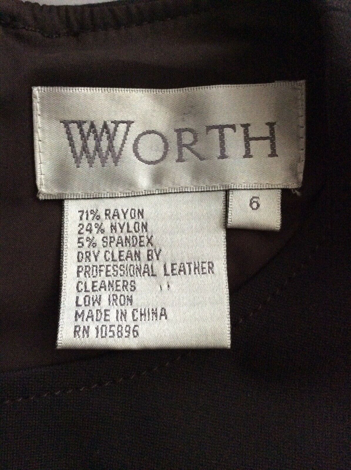 Worth Brown Dress size 6 full front zipper - image 8