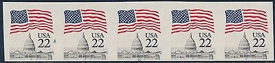 """#2115f """"flag Over Capitol"""" Imperf Str/5 With Plate # 22 Error Cv $400+ Errors, Freaks, Oddities Bt2302 United States"""