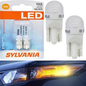 Sylvania-LED-Light-194-T10-Amber-Orange-Two-Bulbs-Front-Side-Marker-Lamp-OE-Fit