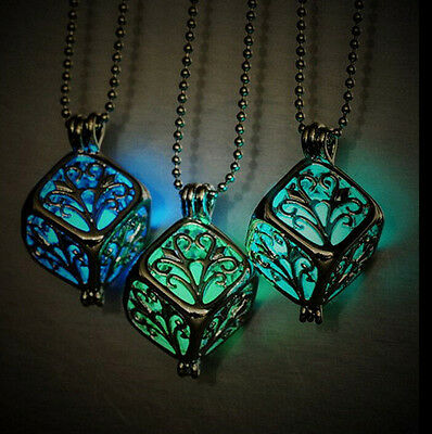 Chic Pretty Silver 3D Cube Locket Glow In The Dark Pendant Necklace Fairy Gift