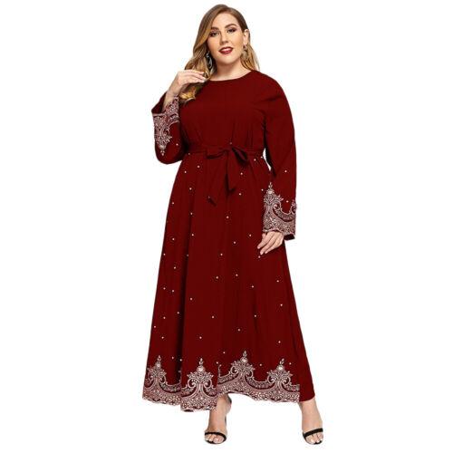Dubai Abaya Muslim Women Maxi Dress Plus Size Kaftan Jilbab Party Gown Robe Arab